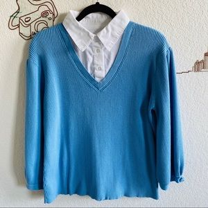 Sweaters - Blue Collared Ribbed Sweater Top